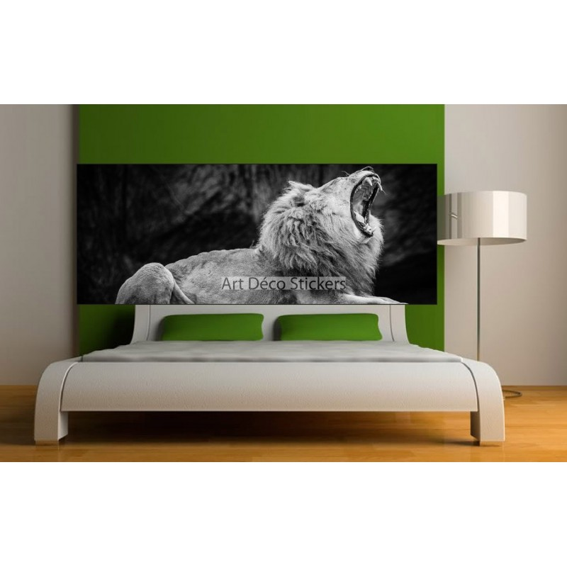 stickers t te de lit d co lion stickers muraux deco. Black Bedroom Furniture Sets. Home Design Ideas