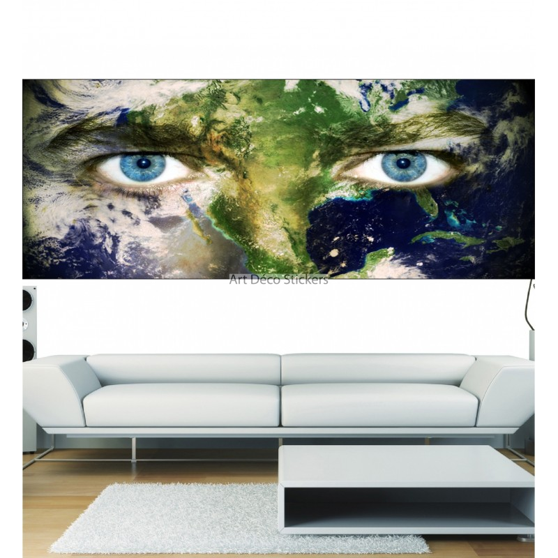 Stickers panoramique d cor yeux plan te stickers muraux deco for Decoration yeux