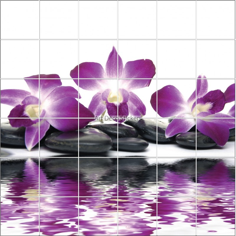 Stickers carrelage mural d co fleur orchid e et galets zen for Deco salle de bain stickers