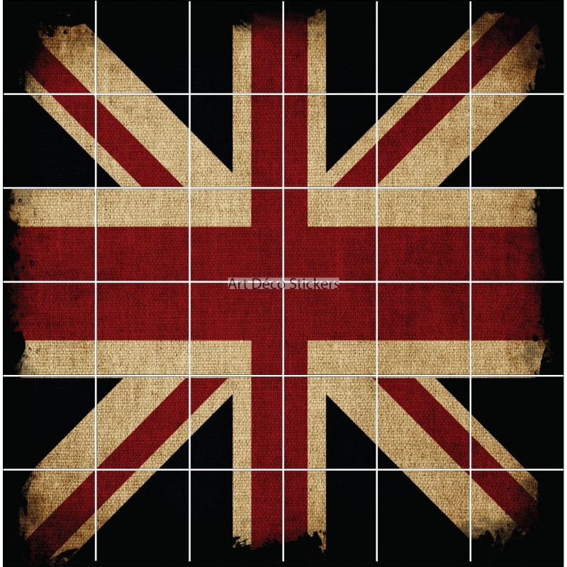 Stickers carrelage mural d co drapeau anglais stickers for Carrelage en anglais