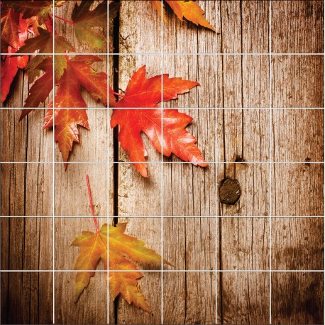 Stickers carrelage mural d co feuilles d 39 automne - Carrelage mural auto adhesif ...