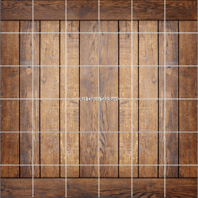 Stickers carrelage mural d co effet parquet bois for Parquet mural bois