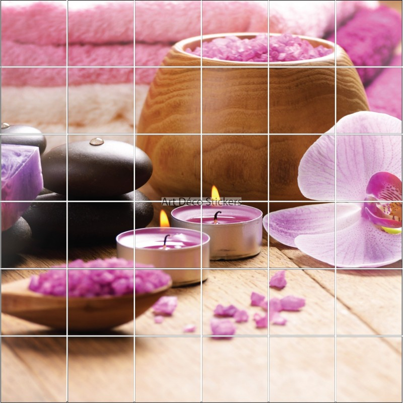 Stickers carrelage mural d co orchid e rose zen stickers for Salle de bain fushia