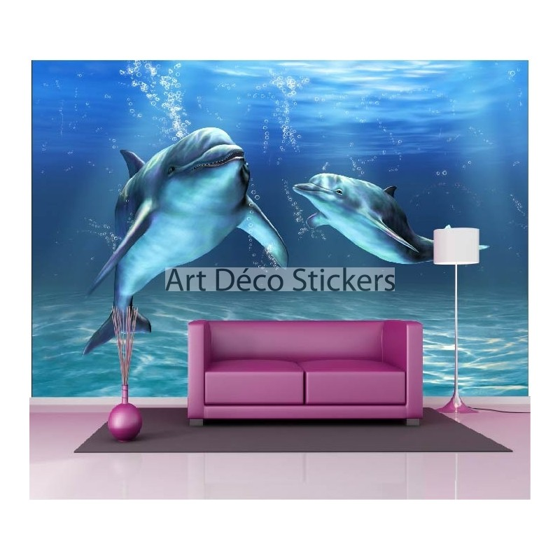 stickers muraux g ant d co dauphins stickers muraux deco. Black Bedroom Furniture Sets. Home Design Ideas