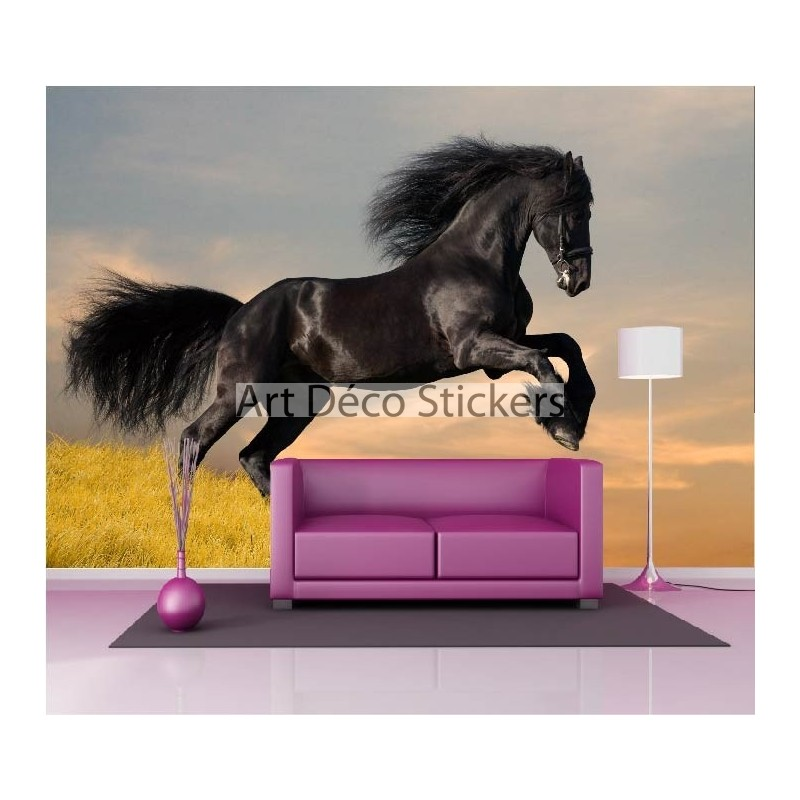 stickers muraux g ant d co cheval noir stickers muraux deco. Black Bedroom Furniture Sets. Home Design Ideas