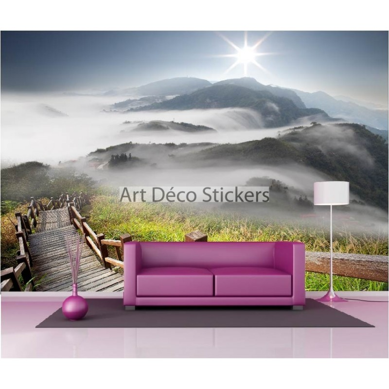 stickers muraux g ant d co escalier dans la montagne stickers muraux deco. Black Bedroom Furniture Sets. Home Design Ideas