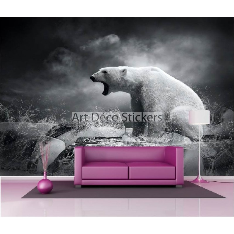 stickers muraux g ant d co ours blanc stickers muraux deco. Black Bedroom Furniture Sets. Home Design Ideas
