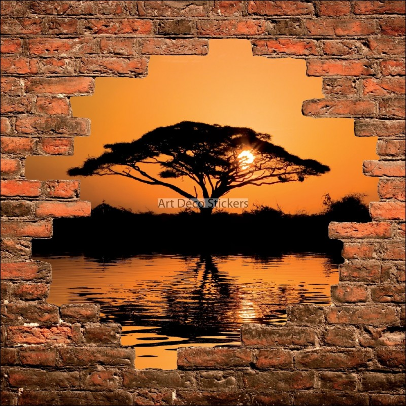 sticker mural trompe l il mur de pierre coucher de soleil en afrique stickers muraux deco. Black Bedroom Furniture Sets. Home Design Ideas