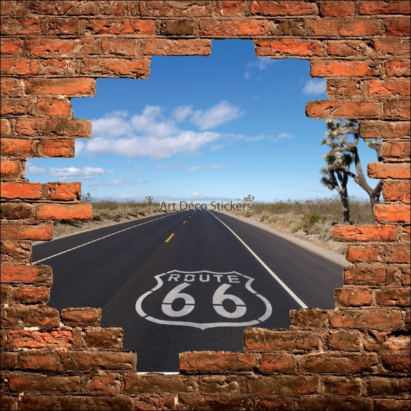 sticker mural trompe l il mur de pierre route 66 us stickers muraux deco. Black Bedroom Furniture Sets. Home Design Ideas