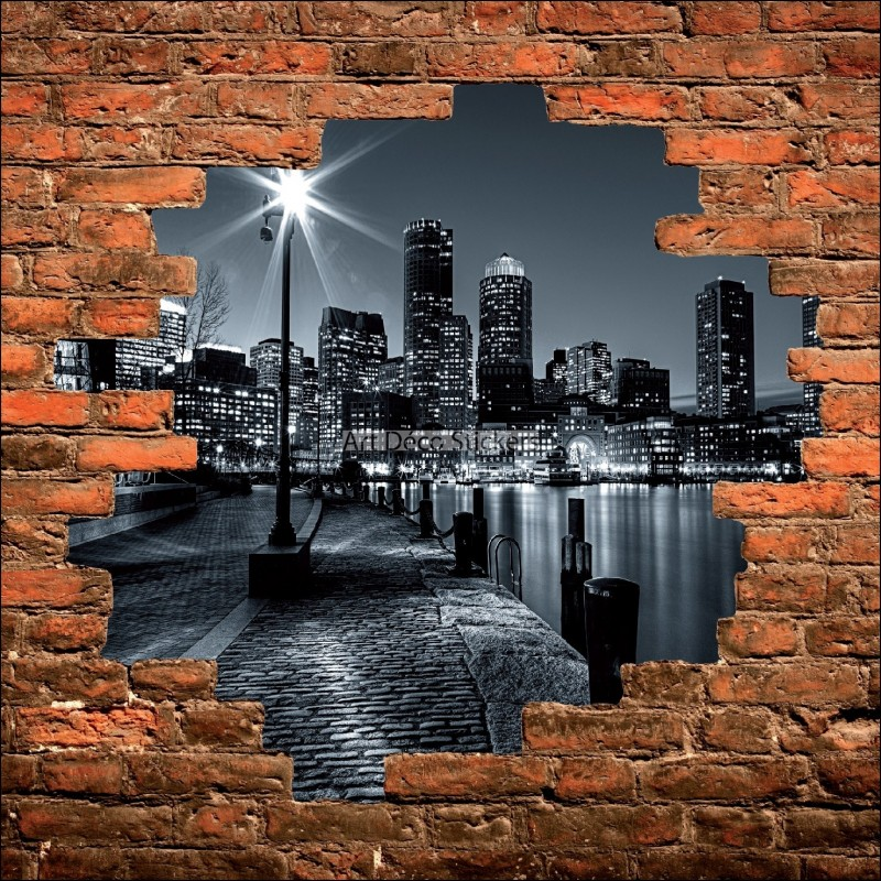 Sticker mural trompe l il mur de pierre new york noir et blanc stickers mu - Tableau noir et blanc new york ...