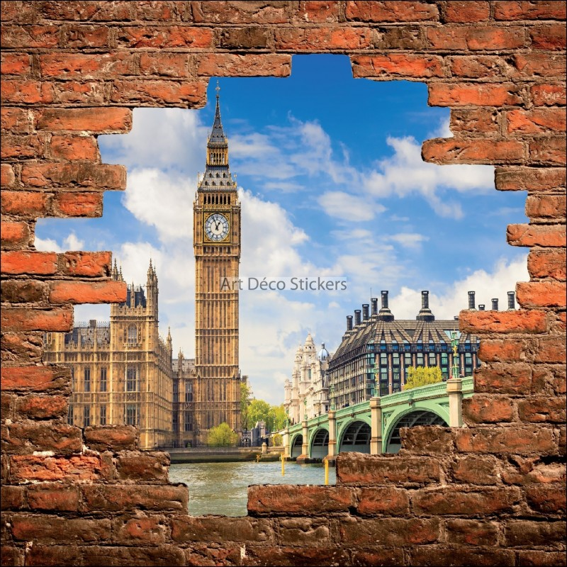 sticker mural trompe l il mur de pierre big ben londres stickers muraux deco. Black Bedroom Furniture Sets. Home Design Ideas
