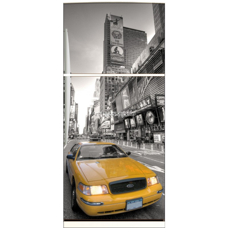 sticker frigo d co cuisine new york taxi jaune stickers muraux deco. Black Bedroom Furniture Sets. Home Design Ideas