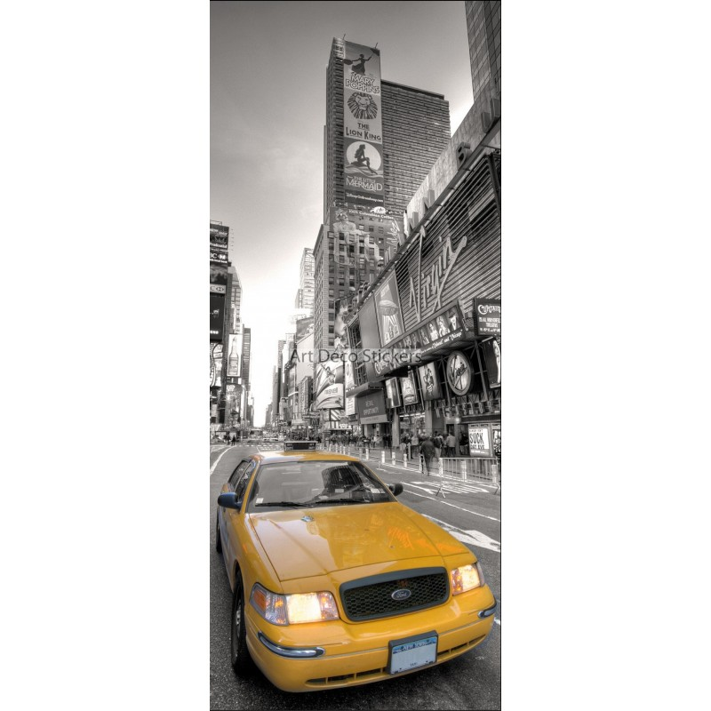 Sticker frigo d co cuisine new york taxi jaune stickers for Autocollant mural new york