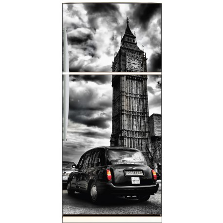 sticker frigo d co cuisine big ben londres noir et blanc stickers muraux deco. Black Bedroom Furniture Sets. Home Design Ideas