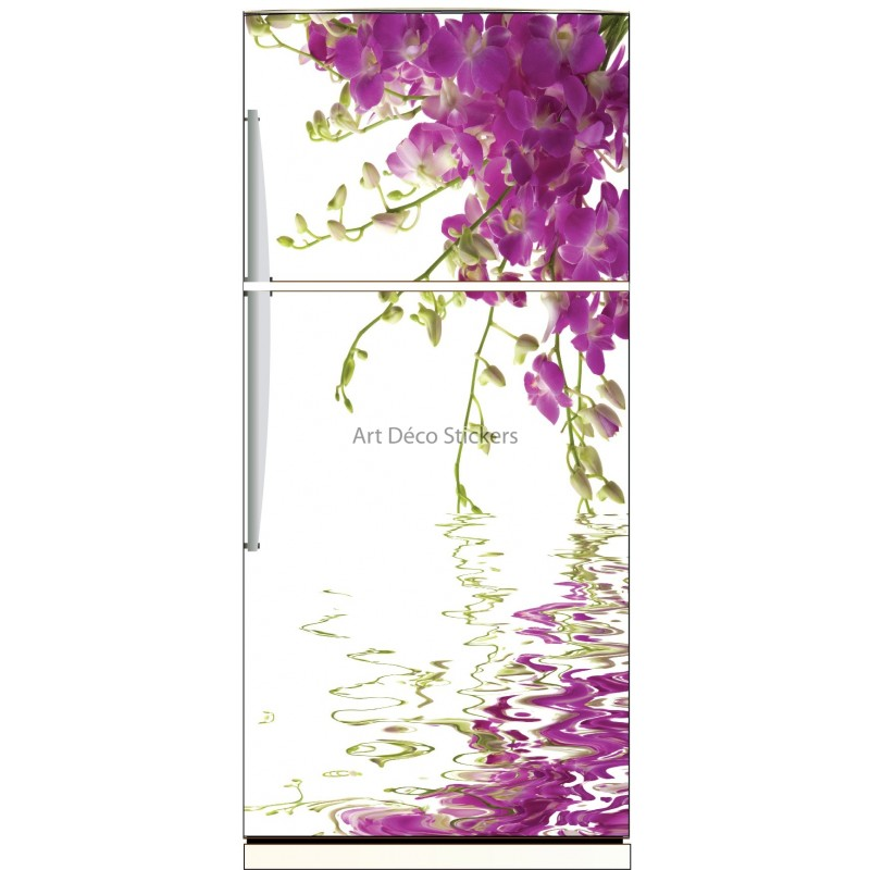 sticker frigo d co cuisine fleurs et reflet zen stickers muraux deco. Black Bedroom Furniture Sets. Home Design Ideas