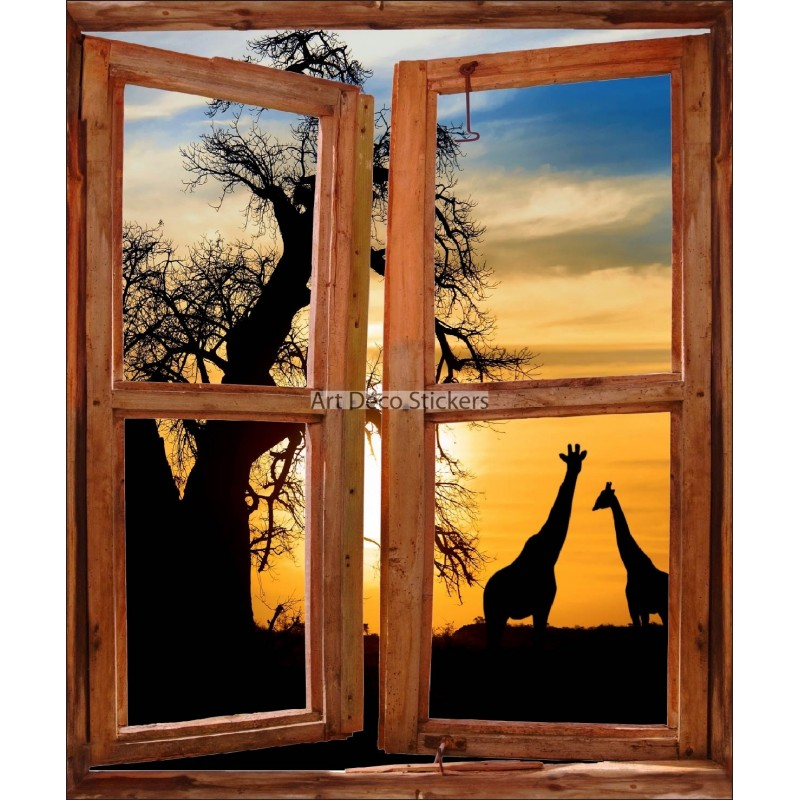 sticker mural fen tre trompe l 39 oeil d co girafes afrique. Black Bedroom Furniture Sets. Home Design Ideas