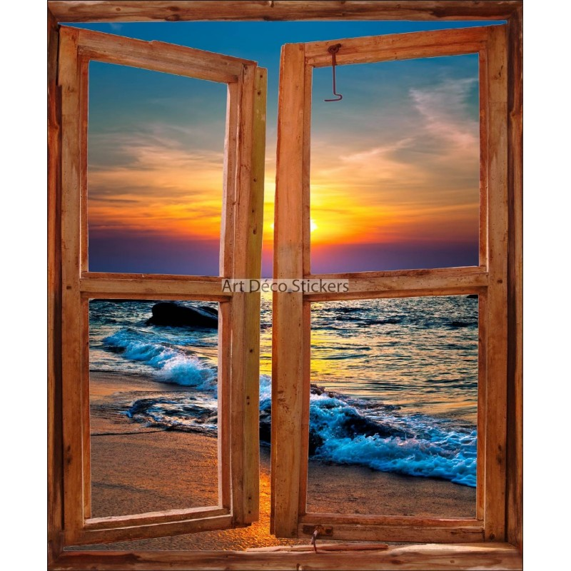Sticker mural fen tre trompe l 39 oeil d co coucher de soleil for Fenetre trompe l oeil