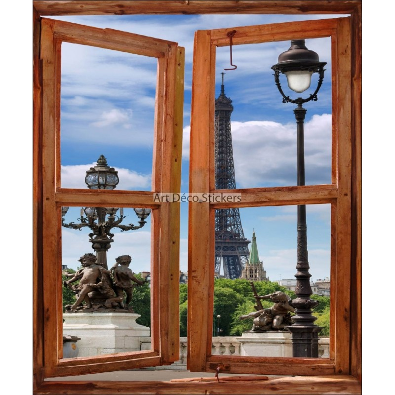 Sticker mural fen tre trompe l 39 oeil d co tour eiffel paris - Sticker trompe l oeil mural ...