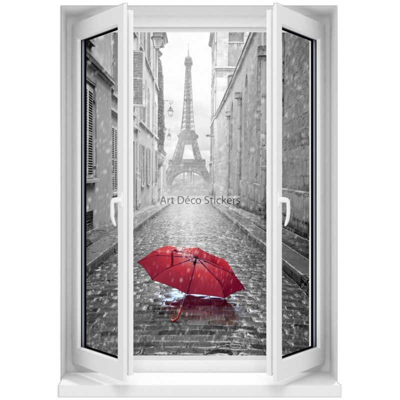 sticker mural fen tre trompe l 39 oeil parapluie rouge paris noir et blanc 5359 stickers muraux deco. Black Bedroom Furniture Sets. Home Design Ideas
