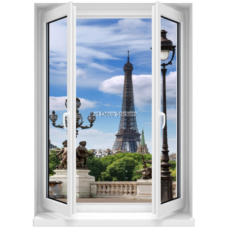 Sticker mural fen tre trompe l 39 oeil paris 5363 stickers for Fenetre trompe l oeil