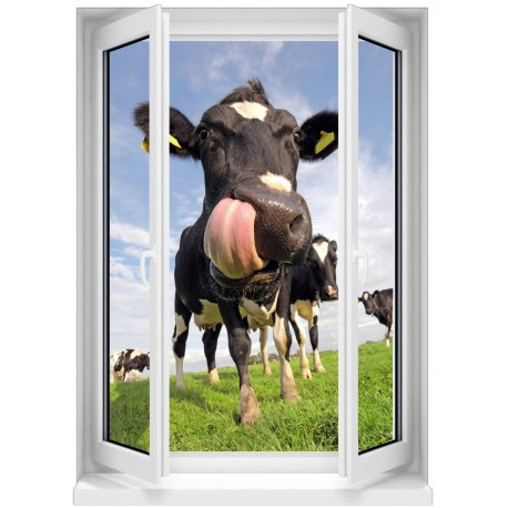 Sticker mural fen tre trompe l 39 oeil t te de vache 5375 for Tete de fenetre decorative