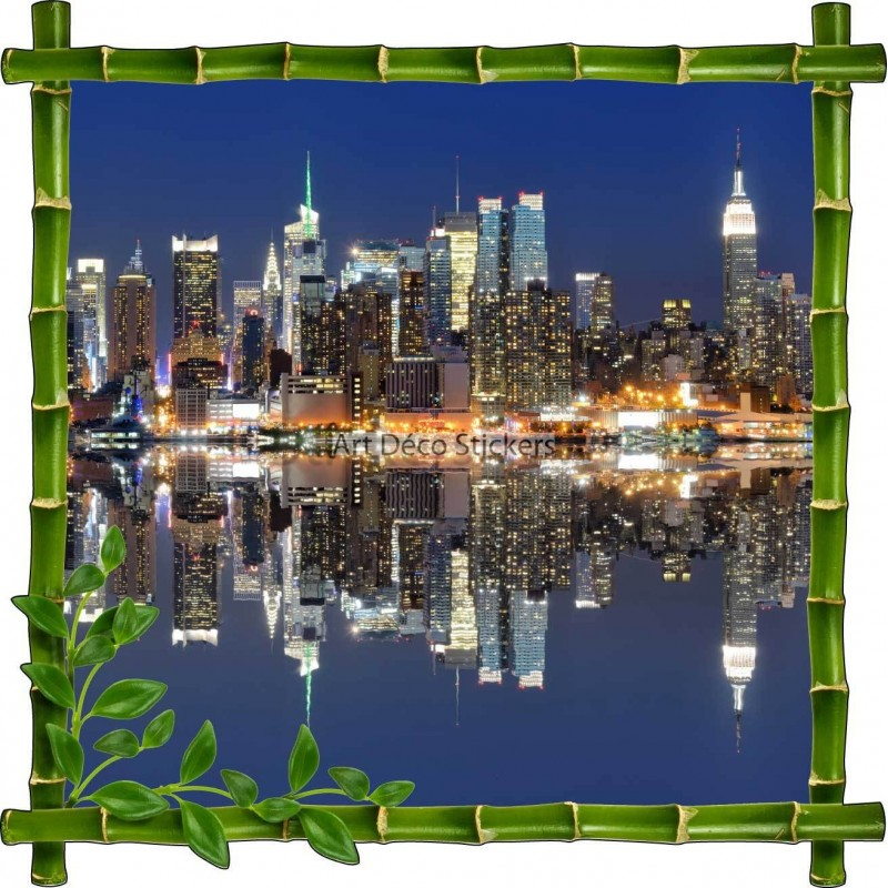 Sticker autocollant cadre bambou new york stickers for Autocollant mural new york