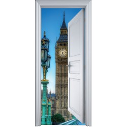 Sticker porte trompe l'oeil Londres Big Ben 90x200cm