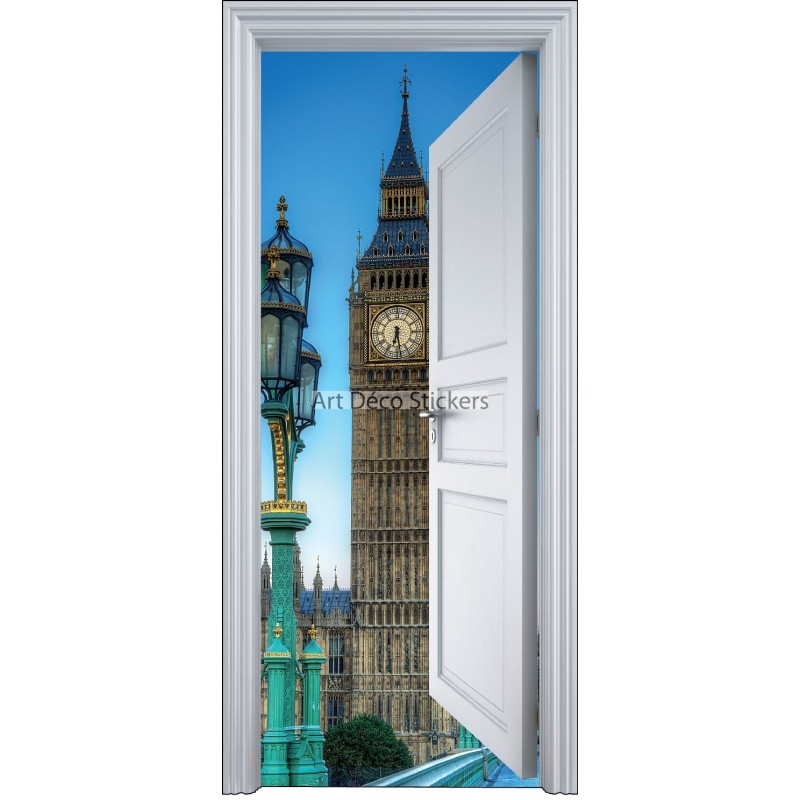 sticker porte trompe l 39 oeil londres big ben 90x200cm stickers muraux deco. Black Bedroom Furniture Sets. Home Design Ideas