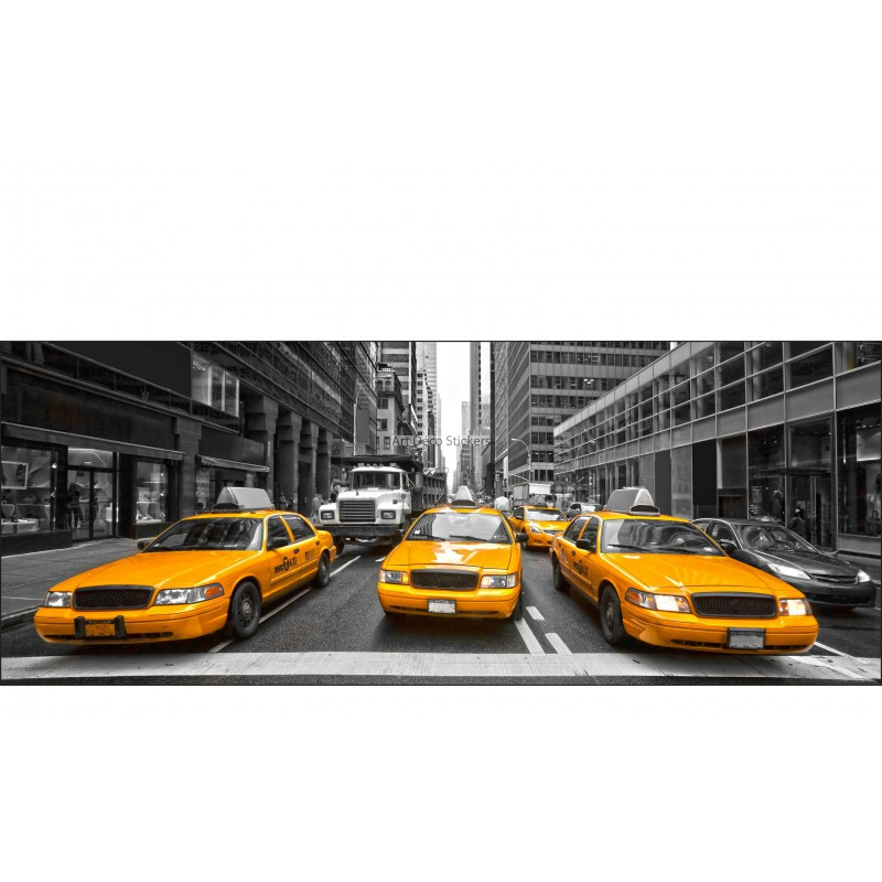 stickers t te de lit d co chambre new york taxi stickers muraux deco. Black Bedroom Furniture Sets. Home Design Ideas