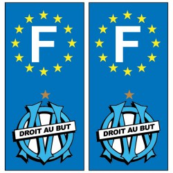 2 Stickers autocollant plaque d'immatriculation OM