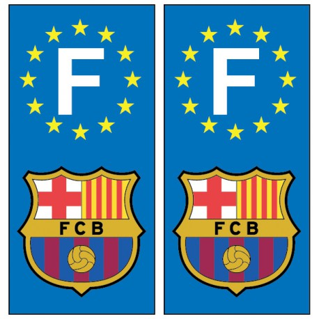 2 Stickers autocollant plaque d'immatriculation Fc Barcelone