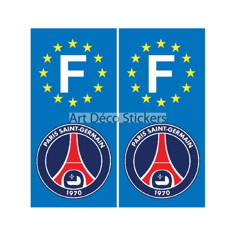 2 stickers autocollants plaque d 39 immatriculation psg stickers muraux deco. Black Bedroom Furniture Sets. Home Design Ideas