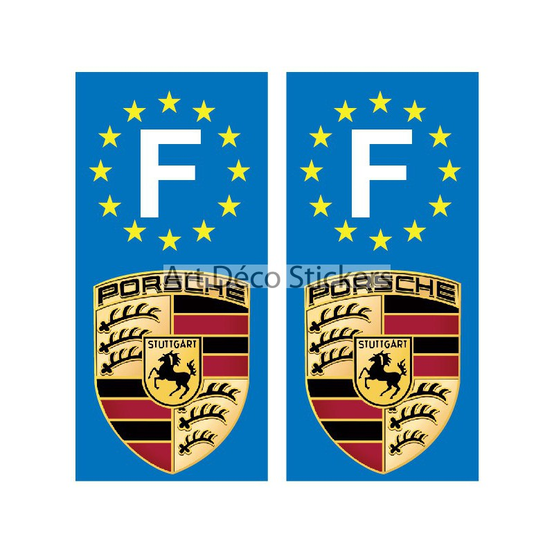 2 stickers autocollants plaque d 39 immatriculation porsche stickers muraux deco. Black Bedroom Furniture Sets. Home Design Ideas