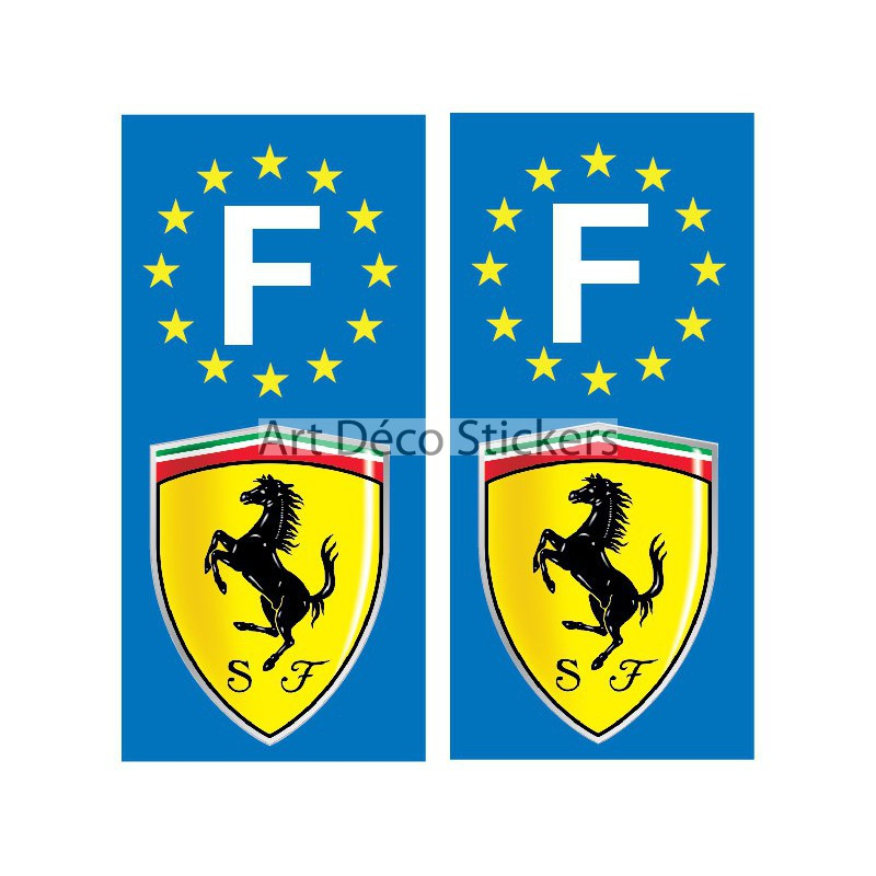 2 stickers autocollants plaque d 39 immatriculation ferrari stickers muraux deco. Black Bedroom Furniture Sets. Home Design Ideas