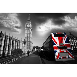 Stickers autocollant ou Affiche poster Drapeau London N&B_ 00013