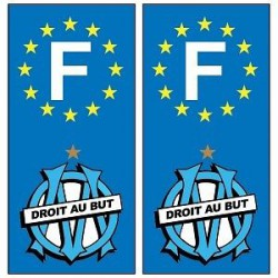 2 Stickers autocollants plaque d'immatriculation OM