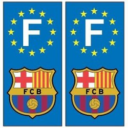 2 Stickers autocollants plaque d'immatriculation Fc Bar