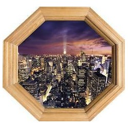 Sticker trompe l'oeil déco New York 60x56cm