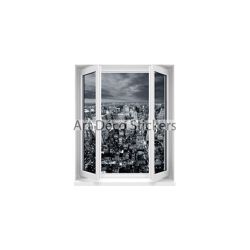 Sticker fen tre trompe l 39 oeil new york 60x80cm f514 for Stickers fenetre new york