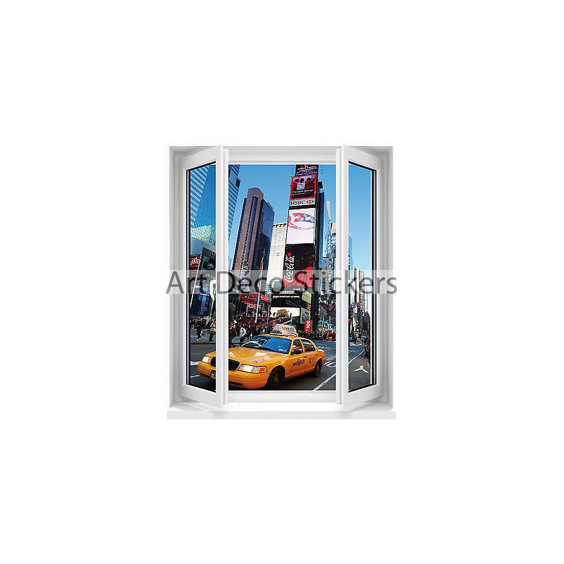 Sticker fen tre new york taxi 50x60cm r f f510 stickers for Fenetre new york