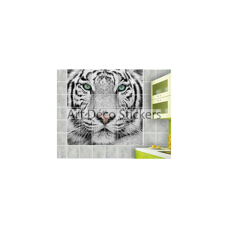 sticker carrelage mural faience d co cuisine ou salle de bain tigre r f 826 stickers muraux deco. Black Bedroom Furniture Sets. Home Design Ideas